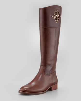 Tory Burch Kiernan Leather Logo Riding Boot, Almond - Neiman Marcus