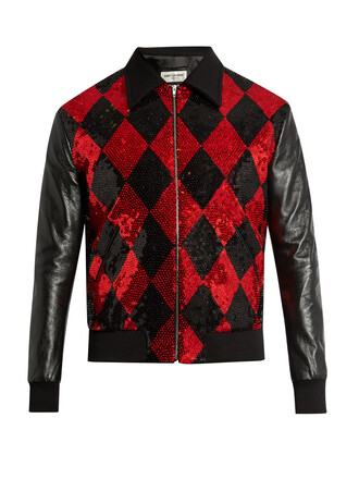 jacket bomber jacket embellished leather wool