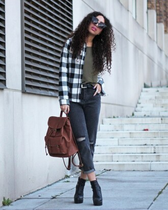 from hats to heels blogger brown leather bag ripped jeans grey jeans gingham jeans bag leather backpack rucksack leather rucksack hipster hipster grunge