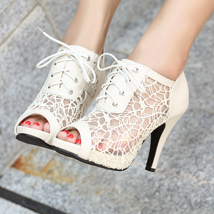 Lace high heeled shoes platform open toe shoe female shoes summer reticular 2013-inPumps from Shoes on Aliexpress.com