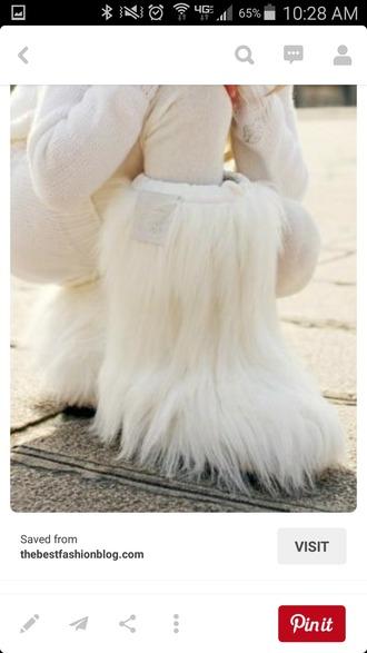 shoes fur boots white fur