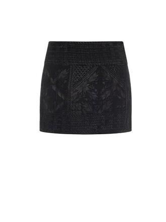 skirt mini skirt mini embroidered silk black