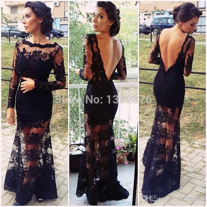 Aliexpress.com : Buy Luxury See Through Lace Long Sleeve Prom Dresses 2014 Black Mermaid Evening Party Gowns vestidos de fiesta For Weddings from Reliable gown design suppliers on AngelLover Weddings&Events Dresses Co.,Ltd.