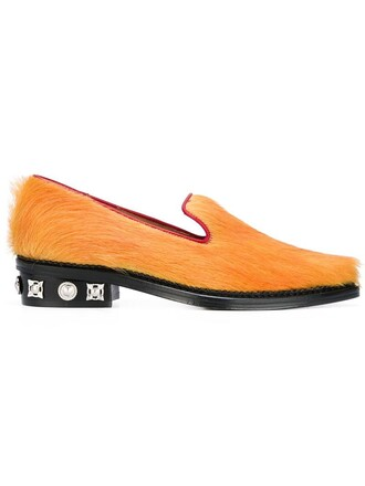heel studded women slippers leather yellow orange shoes