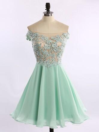 dress cute girly off the shoulder fashion style trendy mint feminine prom short homecoming dress dressofgirl