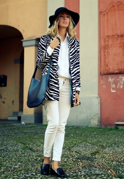 Black and White Zebra Print Coat [FEBK0213] - PersunMall.com