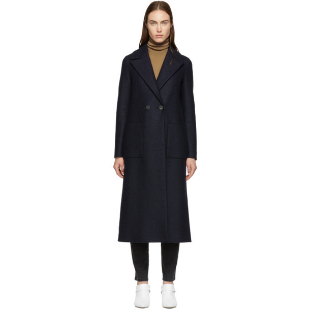 Harris Wharf London Navy Pressed Wool Boxy Duster Coat