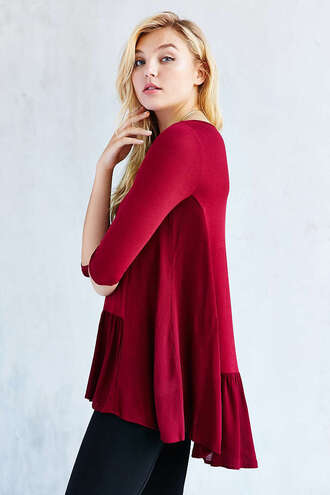 top tunic burgundy
