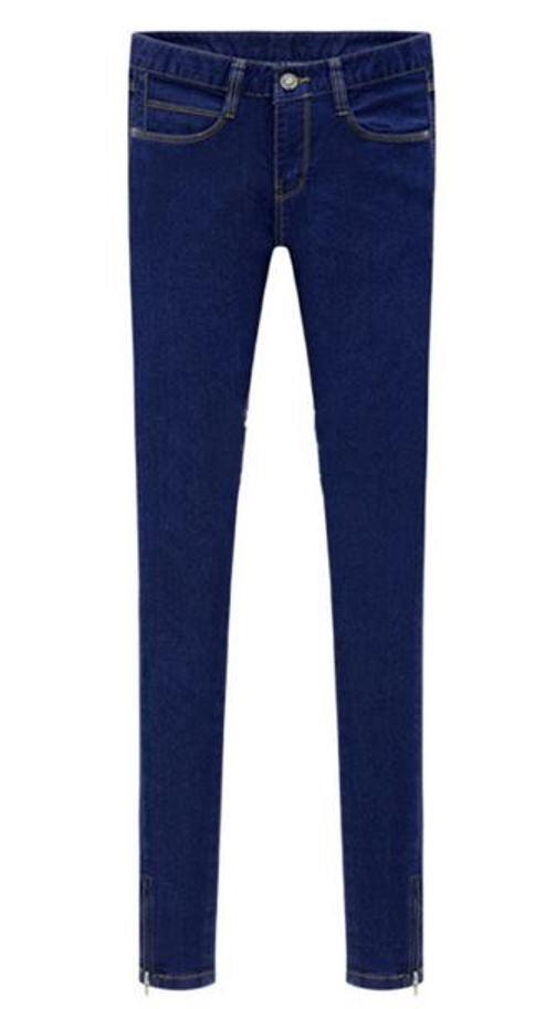 Blue denim mid waist zip cuff jeans