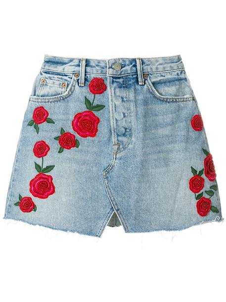 GRLFRND skirt mini skirt mini rose women beaded cotton blue