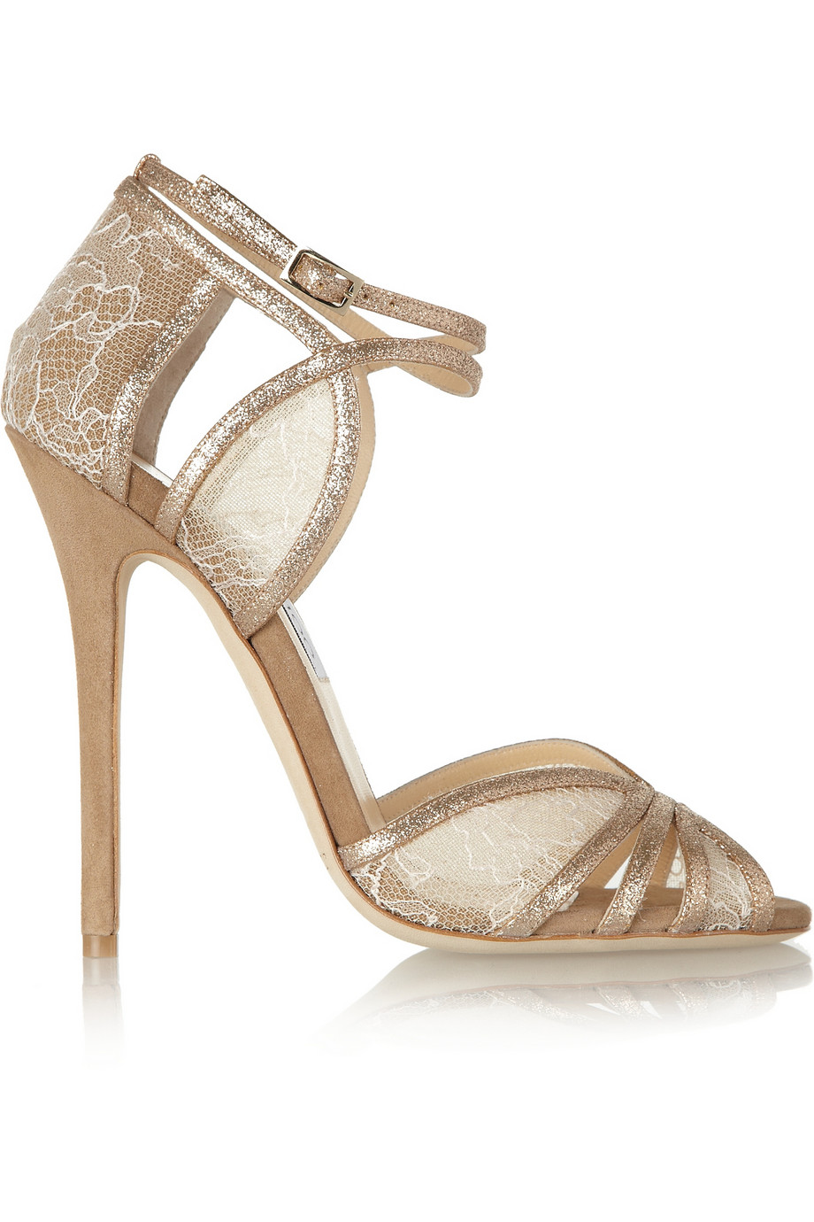 Fitch lace and glitter-finished suede sandals | THE OUTNET