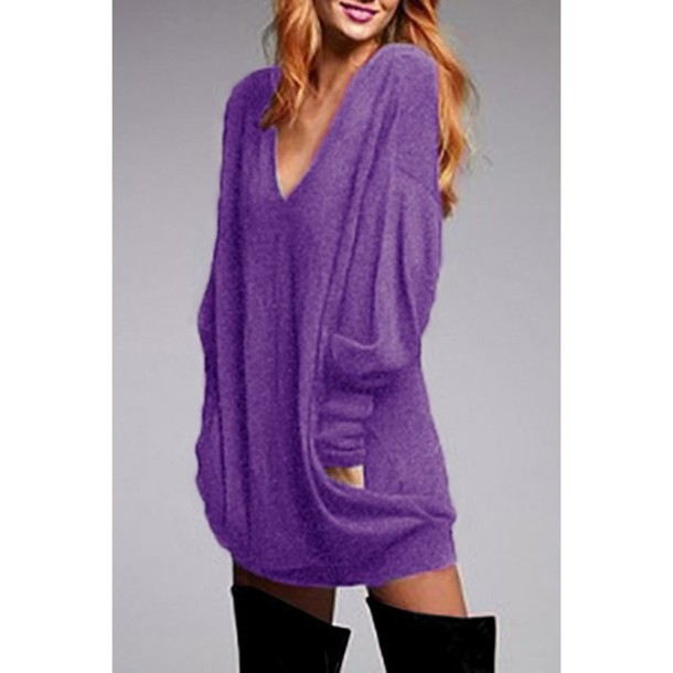 Sweater: purple, baggy, long sleeves, fashion, stylish plunging ...