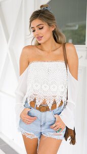 top,shanghaitrends,boho chic,white top,white,lace,lace top,ss16,chiffon