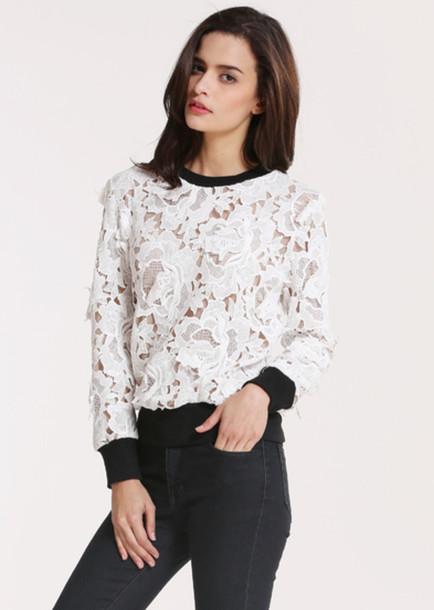sweater lace white sweater black white fashion