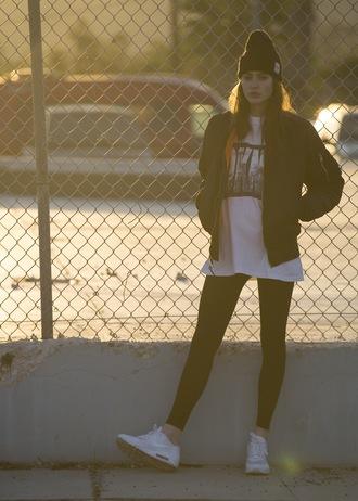 sweat the style blogger hat jacket t-shirt leggings shoes