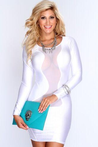 white short dress white dress mesh dress long sleeve dress party dress club dress amiclubwear