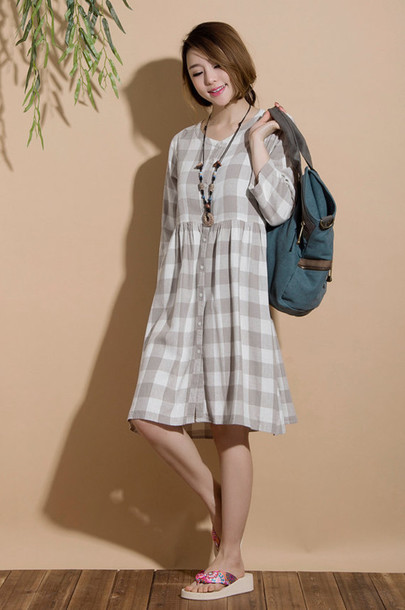 dress linen dress blue plaid shirt