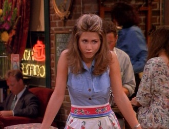 skirt friends tv rachel green cute girl jennifer aniston fashion denim denim blouse cute nice see this 90s style 90s tv tv shows cte