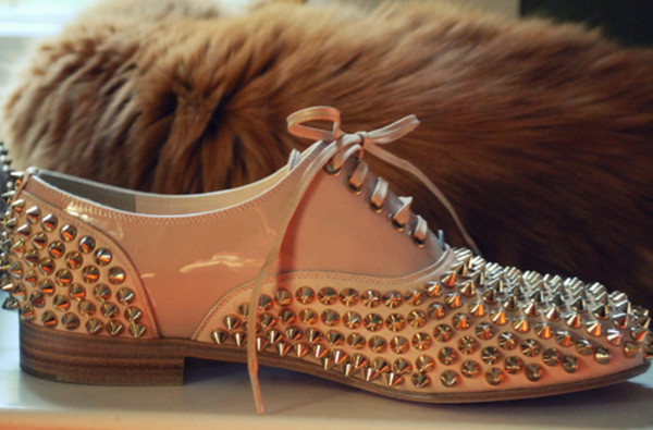nude freddy flats louboutin shoes spikes studs white white shoes