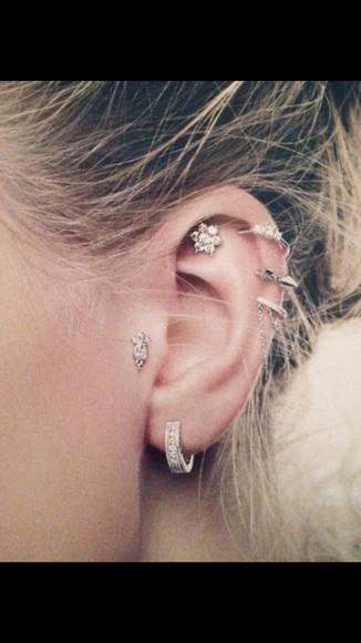 jewels ear cuff earrings helix piercing hoop earrings silver earring spike earring piercings