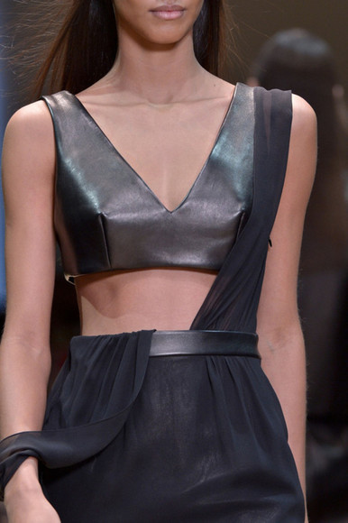 dress runway leather sheer midriff