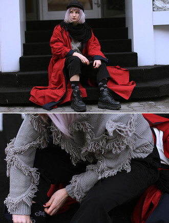 jacket red winter outfits coat long oversized colour block focus statement jumper lining alternative