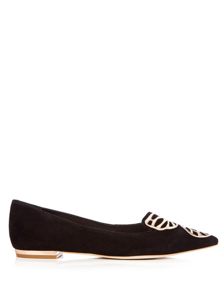 Sophia Webster butterfly flats suede gold black shoes