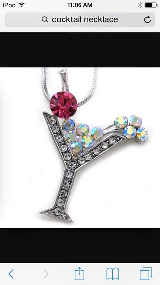 jewels cocktail necklace red gems swarovski silver necklace