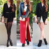 skirt,maxi,slit,side,red,shorts,gold,tights,dress,top,shirt,crop,bustier,romper,black,white,clutch,boots,heels,necklace,jacket,leather,leather jacket,belt,shoes
