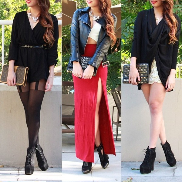 skirt maxi slit side red shorts gold tights dress top shirt crop bustier romper romper black white clutch boots heels necklace jacket leather leather jacket belt shoes