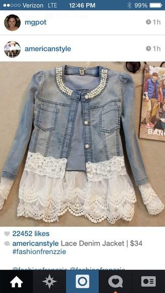 jacket pearls jeanjacket