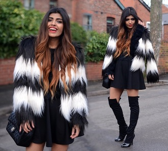 coat black white fur faux h&m