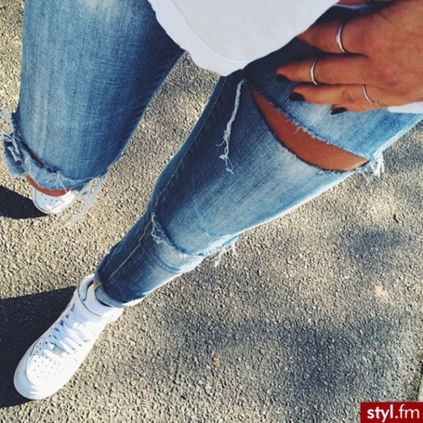 jeans ripped jeans sneakers high top sneakers white sneakers white shoes shoes for women blue jeans holes holed jeans fashion ripped blue skinny jeans nike nike air force 1 white
