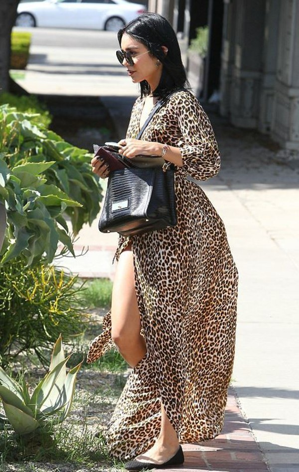 Dress: wrap dress, vanessa hudgens, maxi dress, animal print ...