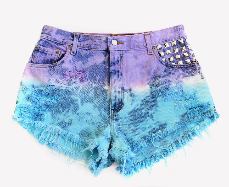 Dyed Studded Vintage Levis Shorts - One of A Kind | RUNWAYDREAMZ