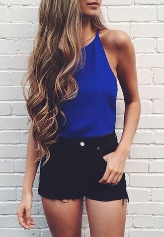 shorts black denim ripped blue blouse sleeveless long hair outfit streetstyle casual black shorts