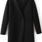 Black collarless woolen coat