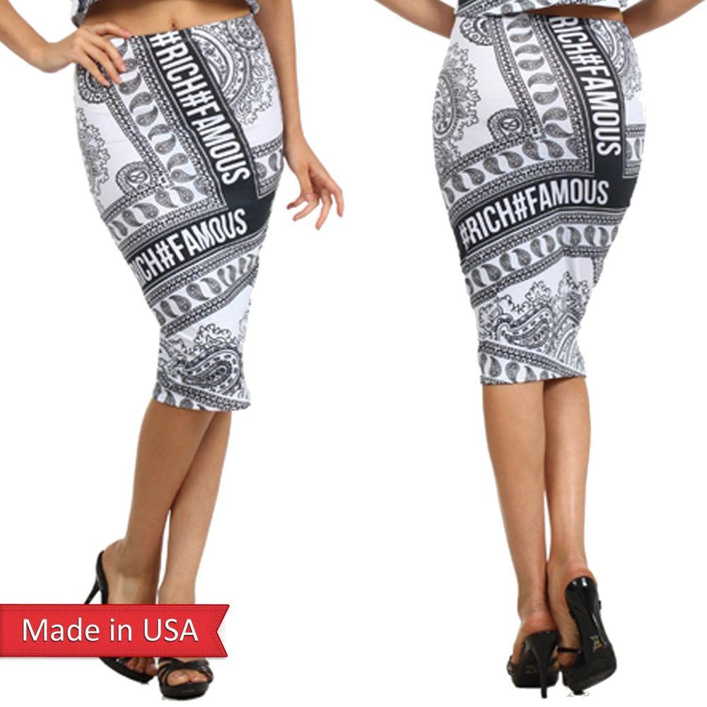 New Women Hashtag # Rich #Famous Paisley Black White Text Print Pencil Skirt USA