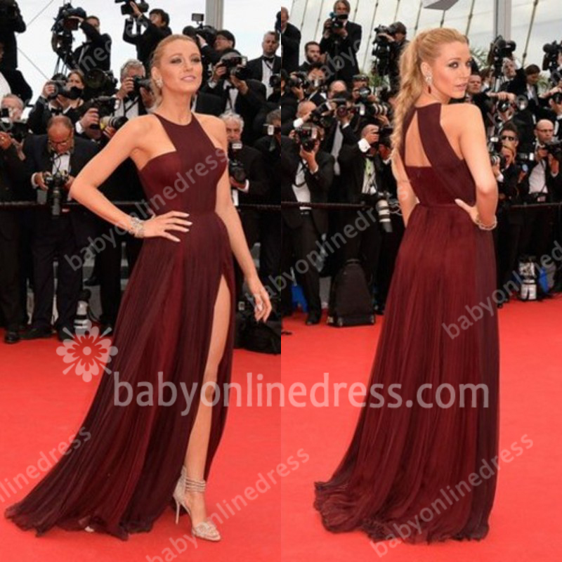 2014 Gossip Girl Blake Lively Stuning Halter Off Shoulder Sleeveless Re Wine Side Slit Long Tulle Prom Dresses Hollow Out Back-in Prom Dresses from Apparel & Accessories on Aliexpress.com | Alibaba Group