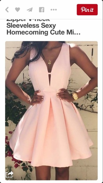 dress light pink pink dress sexy v-neck dress