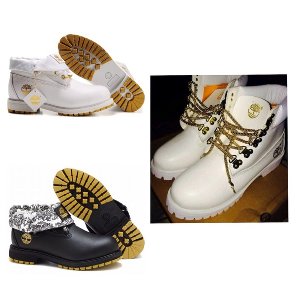 shoes white gold timberland boots