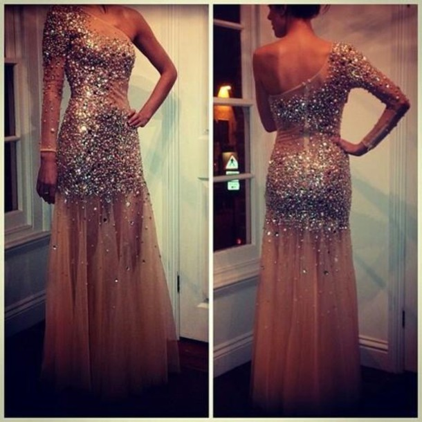 Dress Peach Dress Silver Glitter Prom Dress Glitter