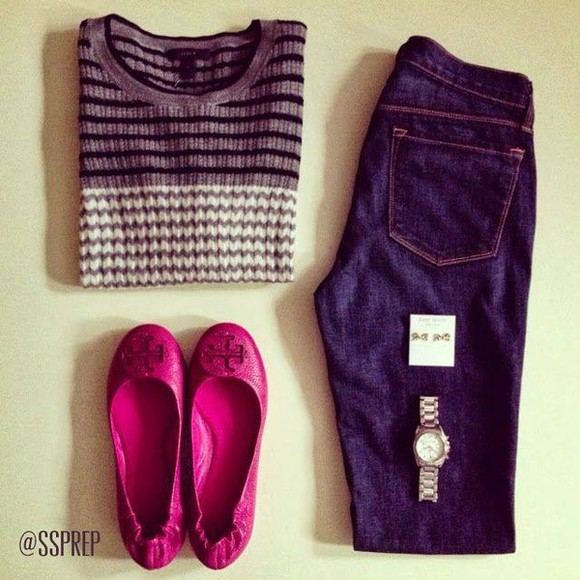 shoes ballerinas pink fuchsia sweater