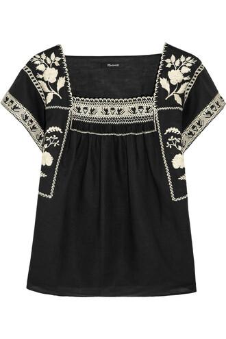 top embroidered cotton black cream