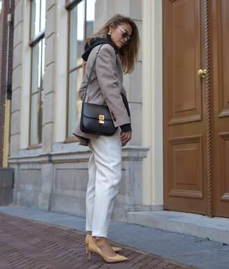 shoes tumblr pumps pointed toe pumps denim jeans white jeans blazer grey blazer bag black bag