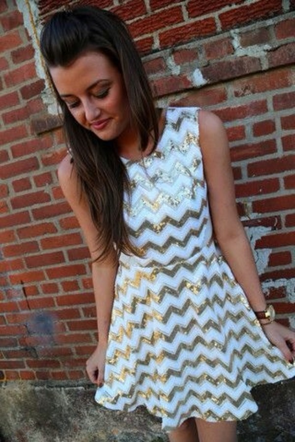 dress gold white gold and white chevron gold and white chevron tank top skater dress