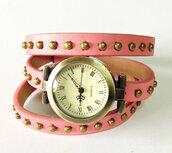 jewels,studded watch,wrap watch,watch,vintage style,pink,leather watch,bracelets,freeforme