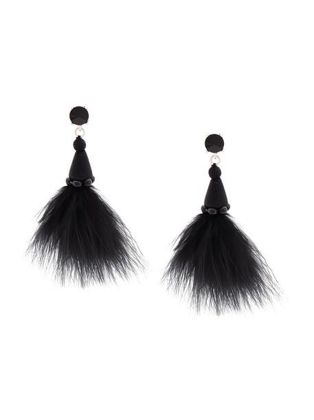 oscar de la renta feathers women earrings black silk jewels