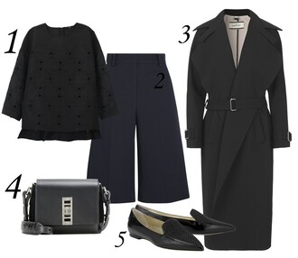 blame it on fashion blogger top coat bag classy black coat loafers black bag culottes outfit