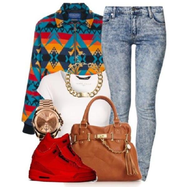 jacket jeans shirt bag jewels shoes
